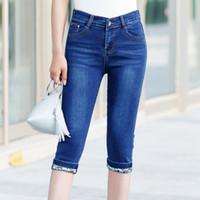 algodón spandex verano pantalones mujeres al por mayor-2018 Summer Denim Capri Pants Women Plus Size Cotton Capri de cintura alta para mujeres Ladies Stretch Skinny Jeans Capri