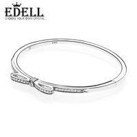 Wholesale love bow bracelet online - EDELL Fine jewelry Sterling Silver Bangle with Women Wedding Party Clear CZ Fashion Bow Tie Diamond Bracelet Fit love