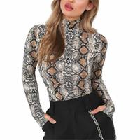 blusas de gola alta venda por atacado-Hirigin Das Senhoras Das Mulheres Manga Comprida Snakeskin impresso blusas femininas Collant Collant Corpo blusa de gola alta do estiramento das mulheres femme Tops