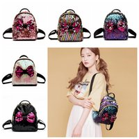 Wholesale basketball ties for sale - Women Sequins Bow Tie Backpacks Colors Teenage Girls Travel Mini School Bags Shoulder Bag Outdoor Bags OOA5416