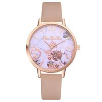 correa de reloj de cuero flor al por mayor-Nueva Moda Mujer Relojes Estampado de Flores Relojes de Las Señoras Banda de Cuero Relojes Reloj de pulsera relogio masculino Dropshipping