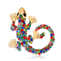 Wholesale mexican costumes women for sale - Group buy Alloy Rhinestone Chameleon Lizard Brooch Pin for Women Costume Jewelry Brooches