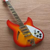 Discount guitar body mahogany maple - 2018 High Quality Rickenback Cherry Sunburs Color Bass Electric Guitar,6 Strings Bass Guitar,Hollow Body,FreeShipping