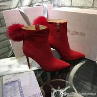 Wholesale Ankle Boots Booties - 2017 Jimmy JC Choo JimmyChooS JC Red Women Round Toe Ankle Boots Booties Red Leather Hair Fur Leather Boots Heel height 10cm Come With Box
