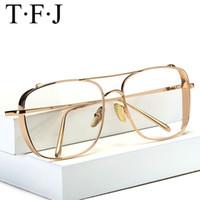 vogue männer großhandel-Übergroße Gläser Frauen Männer rechteckigen Metallrahmen für dekorative klassische Brillen Vogue Transparent Harajuku Unisex-Brillen