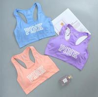 Wholesale Women Sports Vest Polyester - Pink Letter Sports Bra Woman Gym Sport Yoga Bra Letter Printed Crop Bra Pink Push Up Fitness Vest Underwear 3 Colors OOA3843