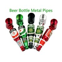 Wholesale Best Gift Smoking - Mini Beer Bottle Metal Pipes Portable Beer Bottle Smoking Pipe Herb Tobacco Pipes Smoke Filter Smoking Accessories Best Gift For Smoker