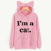ead24e0c177f Women Letter Print Cat Ear Cute Hoodies I m A Cat Print Hooded Sweatshirts  Autumn Long Sleeve With Pocket Pullovers