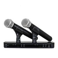 micrófono dual al por mayor-Alta calidad BLX288 / PG58 BLX88 PG58A UHF Micrófono Inalámbrico Sistema de Karaoke Con PG58 Micrófono de Transmisor de Mano Dual