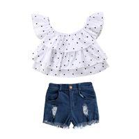 blaues hemd weiße tupfen großhandel-2 STÜCKE Neugeborenen Baby Kinder Mode Mädchen Weiß Polka Dot Kurzarm T-Shirt + Blau Denim Hosen Outfits Set 1-7Y