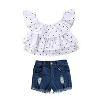 ingrosso camicia blu polka dots bianco-T-shirt a maniche corte a pois bianca bambina di moda bimba bambina 2PCS + pantaloni blu denim abiti completi 1-7Y