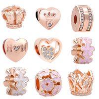 acf62ce41089 Envío gratis MOQ 20 unids oro rosa corona mamá flor encantos del grano fit  Original Pandora pulsera pulsera DIY N003