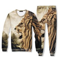 Wholesale Women Tiger Print Pants - Men Women 3D Tiger Print Sport Suits Hip Hop Emoji O-Neck Sweatshirts+Jogger Pants Tracksuit Running Jogging Hoodies Set