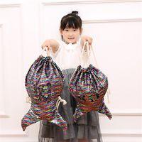 Wholesale ladies backpacks handbags resale online - Lady Kids Backpack Fashion Drawstring Travel Storage Bag Mermaid Tail Sequin Christmas Birthday Handbag High Quality tf hh