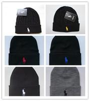 satılık boncuk kapakları toptan satış-Erkekler Kadınlar için üst Satış Unisex Bahar Kış Şapka Örme Beanie yün şapka Adam Örgü Bonnet Polo Beanie Gorros touca Kalınlaşmak Sıcak Kap
