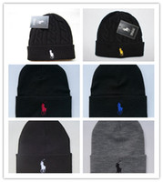 Wholesale beanie for sale resale online - Top Sale Unisex Spring Winter Hats for Men women Knitted Beanie Wool Hat Man Knit Bonnet Polo Beanie Gorros touca Thicken Warm Cap