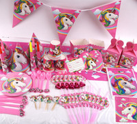 Wholesale topper cakes resale online - 141pcs Unicorn Birthday Party Set Unicorn Favor Supplies Set with Disposable Tableware Cake Toppers Party Hanging Kit BBA174