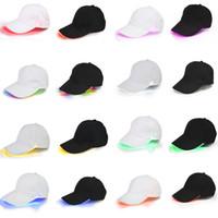 fibra ótica venda por atacado-32 cores led lighted up boné de beisebol brilho clube de beisebol hip-hop chapéu de dança de golfe de fibra óptica luminosa caps ajustável dda734