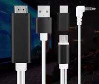 micro usb 3.5mm venda por atacado-1.8 M 5 in1 Micro USB / Tipo C para HDMI + USD 2.0 + Áudio 3.5mm Plug TV HDTV Adaptador 1080 P CABO no pacote de varejo 1 PÇS / LOTE