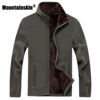 Wholesale long sleeve thermal men for sale - Mountainskin xl xl Mens Softshell Fleece Casual Jackets Men Warm Sweatshirt Thermal Coats Solid Thickened Brand Clothing Sa041
