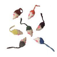 mini gatitos al por mayor-Nuevo Pequeño Ratón Gato Juguete Lindo Mini Conejo Piel Pelo Cizallamiento Rat Rat Playing Gift para Gatito Juguete Multicolor 0 8sc Y