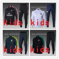Wholesale football training clothing - PORTUGAL kids tracksuit 18 19 World Cup PSG France Paris Brazil NEYMAR JR Training suit pants child football training clothes sportswear Swe