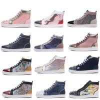 yüksek önyükleme sivri uçları toptan satış-Yüksek Kaliteli Spike En Kırmızı Dipleri Pik Çivili Sneakers Kadın Erkek Lüks Tasarımcı Çizmeler Düz Rahat Kırmızı Tek Sonbahar Kış Rahat ayakkabılar