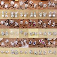 Wholesale girls 14k gold stud earrings - Luxury 46 Styles 1.5cm Rhinestone Studs Earrings Crystal Gemstone Faux Pearl Mini Earring for Women Girls Ladies
