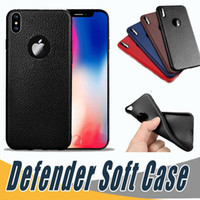 Wholesale defender case iphone 6s plus - Ultra thin Soft Case Defender TPU Silicone Anti Slip leather texture Phone Cases Cover For iPhone X S Plus S