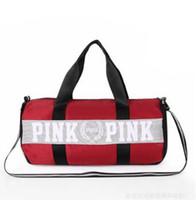 Wholesale travel accessories for sale - Women Handbags Pink Letter Large Capacity Travel Duffle Striped Waterproof Beach Bag Shoulder Bag Free