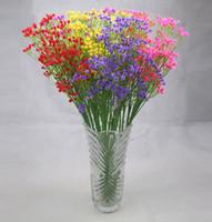 silikon düğün çiçekleri toptan satış-Sıcak Ev Bahçe 105 mini kafaları Yapay bebeğin nefes Çiçek Gypsophila Düğün Ev Partisi Süslemeleri için Sahte Silikon bitki 8 Renkler