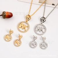 Wholesale hexagon plate - Fashion Necklace Pendant Earrings Full Diamond MK Letters Hexagon Round Two Piece Diamond Jewelry lx