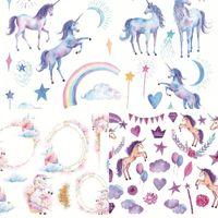 Wholesale scrapbooking stickers diy - Cartoon Adhesive Paster Hand Drawn Unicorn Sticker DIY Scrapbooking Diary Decorate Many Styles 0 85hc C R