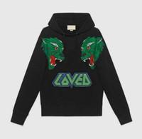 amo animais venda por atacado-18SS Algodão moda casual outono designer de luxo mens LOVED carta lobo impressão animal hoodies pullover moletom com capuz