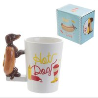 Wholesale Puppy Paintings - Wholesale Cute Dachshund Dog Puppy Handle Mug Ceramic Hand-Painted 3D Cartoon Coffee Cup Home Office Drinkware Birthday Gift