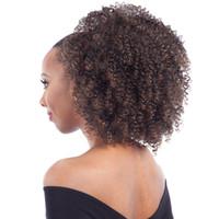 clips de cabelo castanho escuro encaracolado venda por atacado-140g Kinky Curly Rabo De Cavalo Para As Mulheres Negras Naturais Afro Encaracolado Não Remy cabelo 1 Peça Clipe Em Rabos De Cavalo 100% Cabelo Humano DarK Brown
