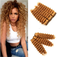 Wholesale human hair weave honey brown for sale - 9A Malaysian Honey Blonde Hair Weave Deep Wave Strawberry Blonde Human Hair Bundles Light Brown Deep Curly Virgin Hair Weft Extensions