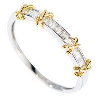 elmas sonsuzluğu toptan satış-Infinity Marka Yeni Lüks Takı Saf 100% 925 Ayar Gümüş Ayrı Altın Prenses Kesim Beyaz Topaz Pırlanta Alyans Yüzük Kadınlar için