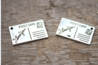 Wholesale 25 mm pendants for sale - Group buy 10pcs I Love You Postcard Charms Postcard Pendants Antiqued Silver Tone x mm