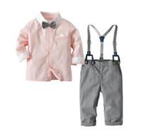 erkek askıları t-shirtler toptan satış-Çocuk T-shirt ve Parantez Seti ile Pantolon Bebek Bahar ve Sonbahar Jartiyer Suit Çocuklar Tops ve Pantolon Iki Adet Çocuk Giysileri XAM 004