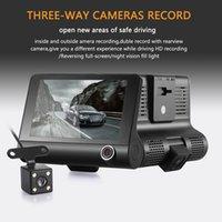 полный hd видеокамеры cmos оптовых-Новое прибытие H103 4-дюймовый Full HD 1080P автомобильный видеорегистратор Dash Cam камеры три объектива видеокамеры поддержка G-сенсор / Обнаружение движения / запись петли