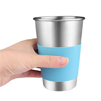 Wholesale silicone camping mug resale online - Stainless Steel Cup Single layer Beer Milk Cups Coffee Mug With Food Grade Silicone Lids Without Straw ML