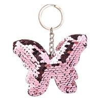 ingrosso bella chiave-Nuova bella farfalla portachiavi glitter paillettes portachiavi regalo per le donne ragazza Llaveros Mujer Car Bag accessori portachiavi