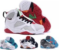 Wholesale Toddler Girls Shoes China - Kids Retro 7 Shoes Children Boys Girls Baby Toddler Air Retro 7s Basketball Shoes China Brands Black Replica Sneakers Size 11C-3Y