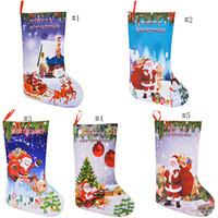 çorap arzı toptan satış-Noel Stocking Hediye Çanta 3D baskı Noel Baba Noel Ağacı Çorap Noel Şeker Saklama Çantası Şenlikli Parti Malzemeleri Süslemeleri Çanta C5062