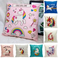 Wholesale horse cases - 42 Styles Unicorn Horse Pillowcase for Sofa Car Square Decorative Retro Throw Pillow Case Vintage Cushion Cover 45*45cm cushion case