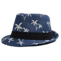 kadınlar için yazlık eski şapkalar toptan satış-2018 Sınırlı Yeni Geliş Cimri Brim Şapka Yaz Kadın Şapkalar Straw Siperlik Güneş Şapka Fedora Vintage Caz Hindistan cevizi ağacı Erkekler Boys Cap Beach Caps