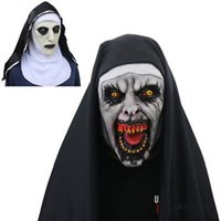 Wholesale halloween helmets resale online - The Nun Cosplay Mask LED Light Mask Costume Latex Prop Helmet Valak Halloween Scary Horror Conjuring Scary Toys Party Costume Props MMA933