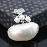 Wholesale Abalone Jewelry Making - Wholesale-47*20mm Ethnic Chic abalone freshwater pearl beads Accessories pendant necklace making jewelry crafts diy Hot sale gifts