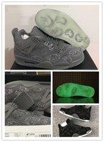 Wholesale Halloween Glow - New Retro 4 KAWS x Men Kaws XX Cool Grey Glow Basketball Shoes 4s KAWS Black Sneakers High Quality Shoes size US8-13
